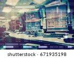double exposure of business... | Shutterstock . vector #671935198