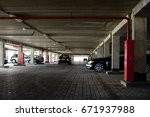underground parking with cars... | Shutterstock . vector #671937988