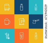 set of 9 beverages outline... | Shutterstock .eps vector #671942029