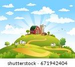 rural scene with the farm ...   Shutterstock .eps vector #671942404