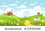 rural scene with the farm ... | Shutterstock .eps vector #671942440