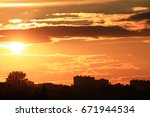 Small photo of Beautiful landscape with golden sunset and clouds afresh brightly