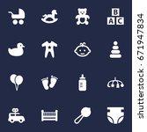 set of 16 kid icons set... | Shutterstock .eps vector #671947834
