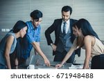 young business people working... | Shutterstock . vector #671948488