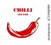 chili pepper isolated on white...   Shutterstock .eps vector #671948989