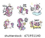 set of cute hand drawn unicorns.... | Shutterstock .eps vector #671951140