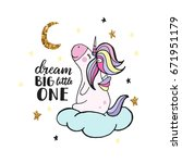 cute hand drawn unicorn. vector ... | Shutterstock .eps vector #671951179