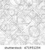 font seamless pattern on a... | Shutterstock .eps vector #671951254