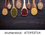assortment of beans  mung bean  ... | Shutterstock . vector #671953714