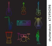 set of simple musical... | Shutterstock .eps vector #671954398