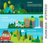 travel flat banner vector... | Shutterstock .eps vector #671955310