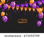 orange purple balloons ... | Shutterstock .eps vector #671955799