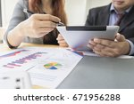 business people discussing... | Shutterstock . vector #671956288