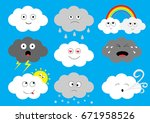 white dark cloud emoji icon set.... | Shutterstock .eps vector #671958526