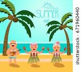 happy retired people. vector... | Shutterstock .eps vector #671960440