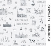 amsterdam holland city doodle... | Shutterstock .eps vector #671962660