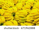 fresh banana yellow background... | Shutterstock . vector #671962888