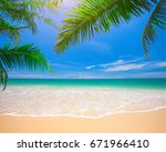 palm and tropical beach | Shutterstock . vector #671966410