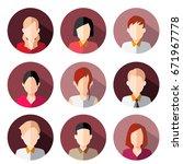avatar  women  and men heads in ... | Shutterstock .eps vector #671967778