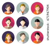 avatar  women  and men heads in ... | Shutterstock .eps vector #671967904