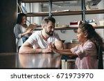 pre adolescent girl talking... | Shutterstock . vector #671973970