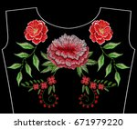 embroidery rose with peony... | Shutterstock .eps vector #671979220