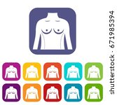 plastic surgery of torso icons... | Shutterstock .eps vector #671985394