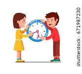 school kids girl   boy moving... | Shutterstock .eps vector #671987230