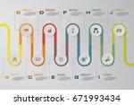 10 steps infographic design... | Shutterstock .eps vector #671993434