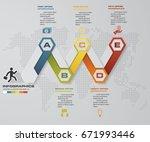 modern 5 steps timeline... | Shutterstock .eps vector #671993446