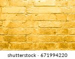 Brick Wall  Painted In Gold  ...