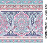 beautiful indian floral paisley ... | Shutterstock .eps vector #672001120