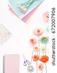 top view of decorative flowers... | Shutterstock . vector #672007906