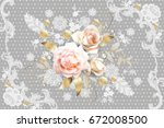 Stock vector white roses with belgian lace element 672008500