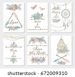 wedding invitation card suite... | Shutterstock .eps vector #672009310