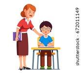 school teacher standing... | Shutterstock .eps vector #672011149