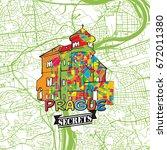 prague travel secrets art map...   Shutterstock .eps vector #672011380