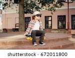 Stylish Hipster Boy Outdoors...