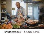 one mature man is preparing a... | Shutterstock . vector #672017248