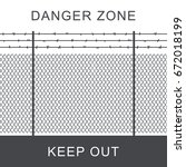 danger zone with rabitz grid... | Shutterstock .eps vector #672018199