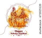 illustration of subhadra tying... | Shutterstock .eps vector #672025120