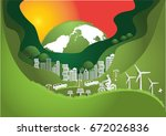paper art  the global  windmill ... | Shutterstock .eps vector #672026836