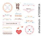 valentine s day design elements ... | Shutterstock .eps vector #672028816