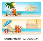 tropical island with palms  a... | Shutterstock .eps vector #672029824