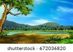 river side hill landscape | Shutterstock . vector #672036820
