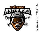 extreme motocross logo. | Shutterstock .eps vector #672036976