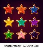 cartoon colorful star gemstones ... | Shutterstock .eps vector #672045238