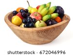 Wooden Fruit Bowl Isolated Ove...