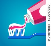 squeezing tooth paste from a... | Shutterstock .eps vector #672047380
