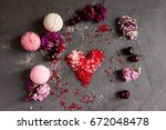 bath salt and bath bombs with... | Shutterstock . vector #672048478